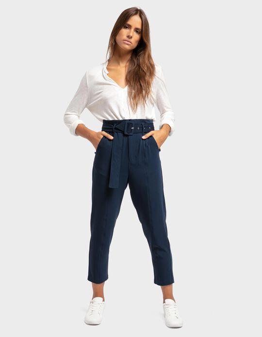 Calças cintura alta com cinto