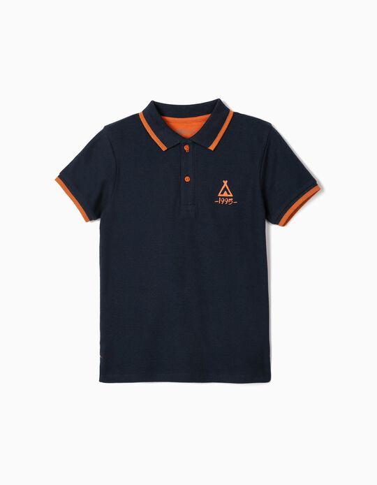 Short Sleeve Dark Blue Polo Shirt, Boys