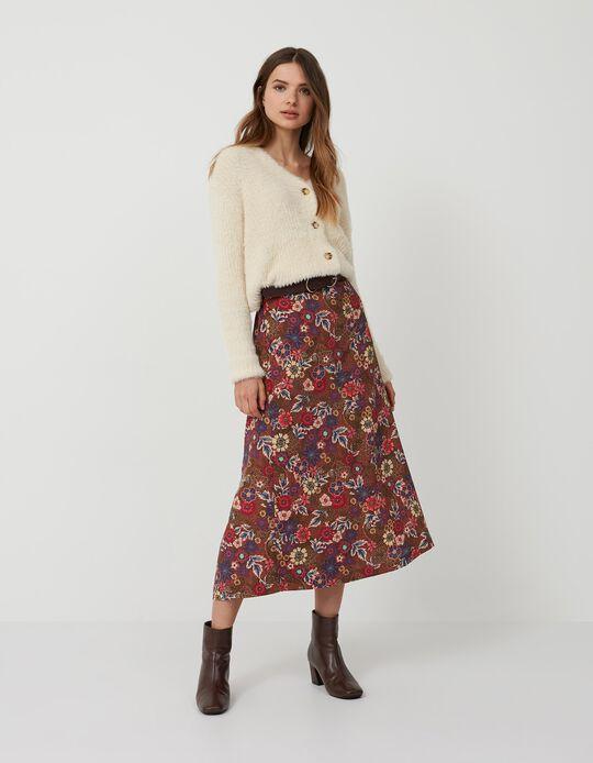 Floral Skirt, Women, Brown