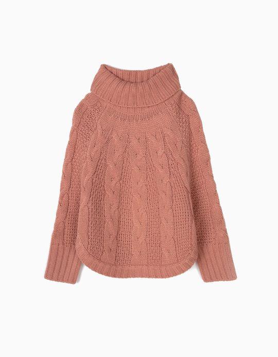 Camisola Poncho de Malha Rosa