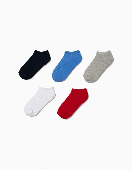 5-Pack Ribbed Ankle Socks for Boys, Multicolour