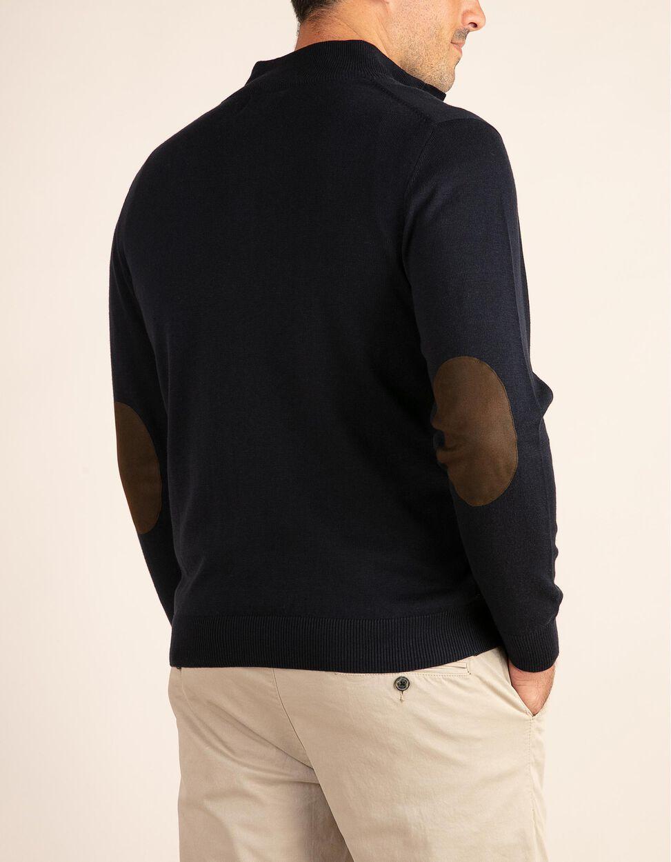 Camisola de malha com meia gola e pormenor de cotoveleiras