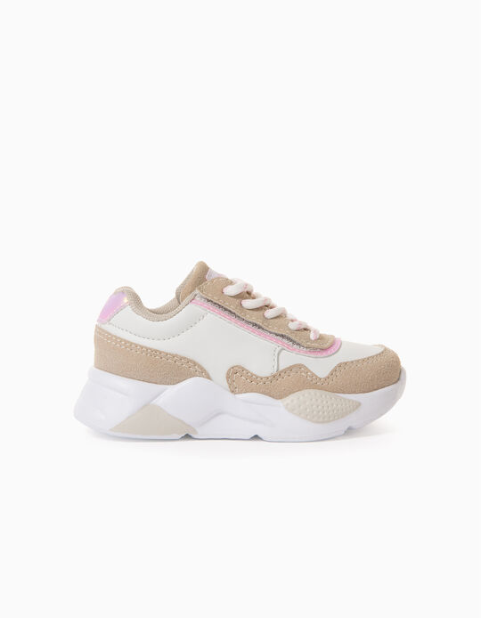 Trainers for Baby Girls 'ZY Easy Sneaker', White/Beige