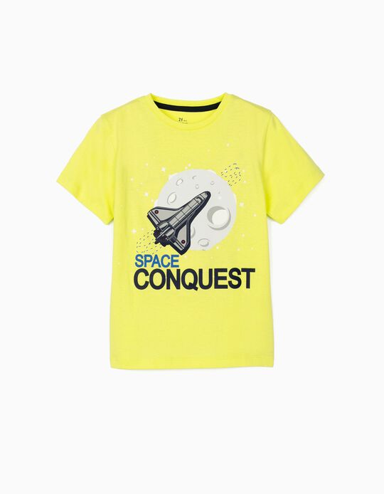 T-shirt for Boys, 'Space Conquest', Lime Yellow
