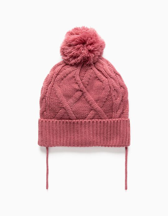 Knit Beanie with Pompom for Babies, Pink