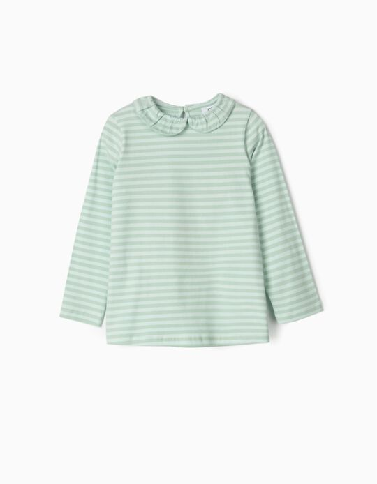 Long-sleeve Top for Girls 'Flowers', Green