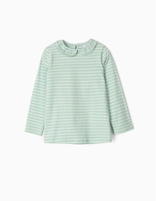 T-shirt Manga Comprida para Menina 'Riscas', Verde