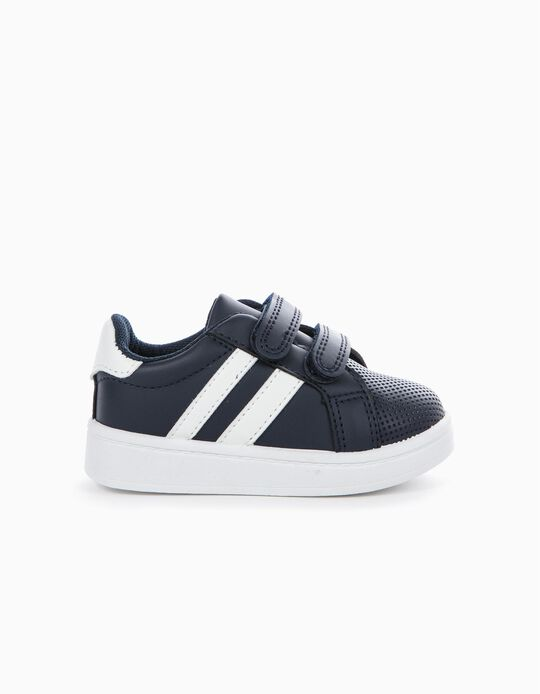 Touch-Fastening Blue & White Trainers