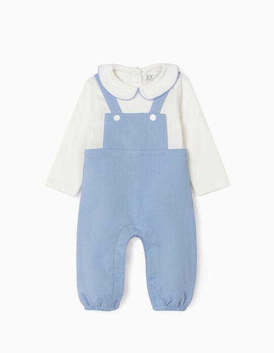 Jumpsuit for Newborn Baby Boys, Blue/White