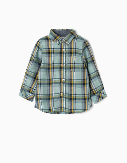 Camisa Xadrez para Bebé Menino, Verde Água