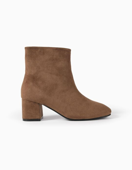 Suedette ankle boots with heel