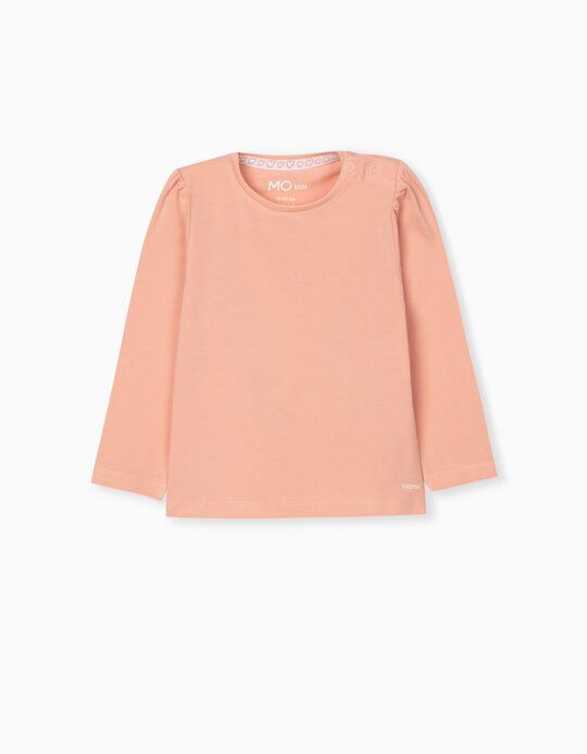 Long Sleeve Top for Baby Girls, Salmon