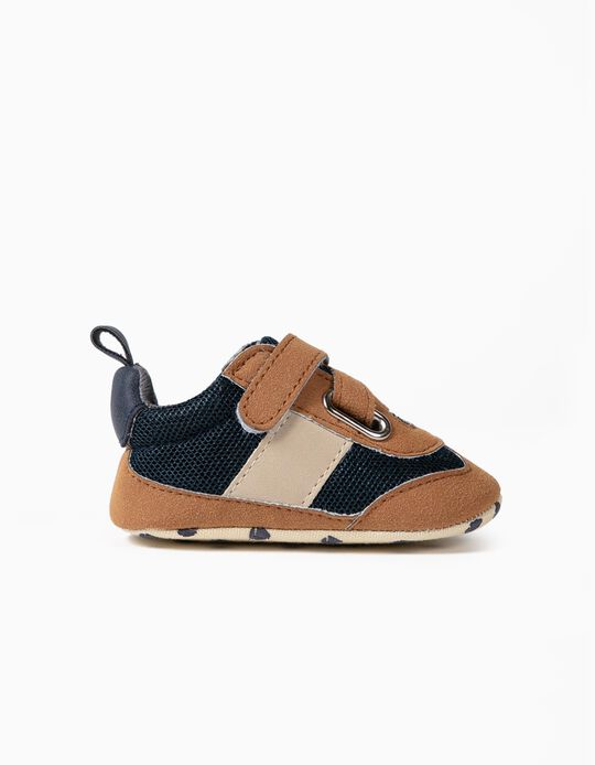Trainers in Different Materials, for Newborns, Dark Blue/Camel