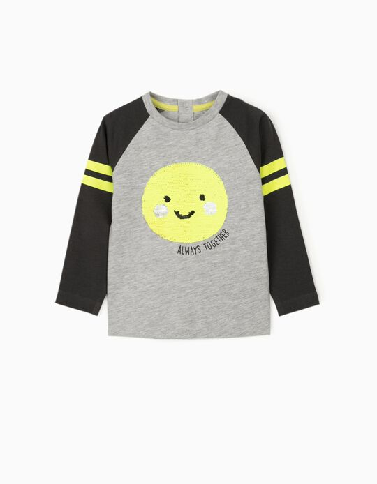 Long Sleeve Top for Baby Boys 'Always Together', Grey