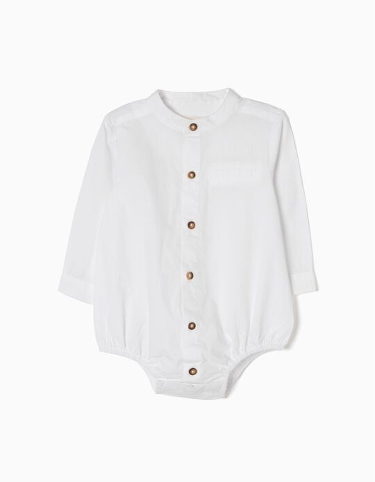 Shirt-Bodysuit with Contrasting Buttons