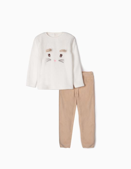Coral Fleece Pyjamas for Girls 'Cute Cat', White/Beige
