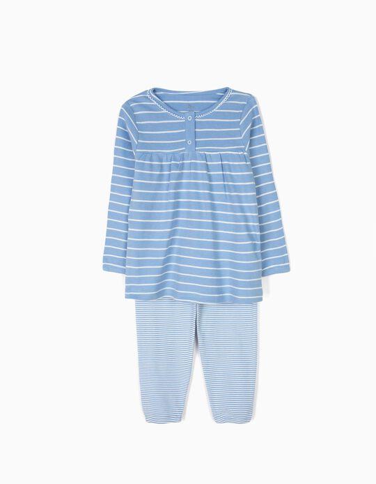 Pijama Manga Comprida e Calças Riscas Azuis