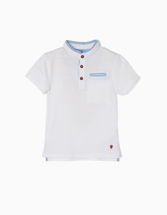Short-Sleeved Polo Shirt with Mandarin Collar, White