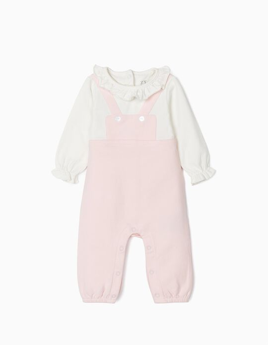 Jumpsuit for Newborn Baby Girls, Pink/White