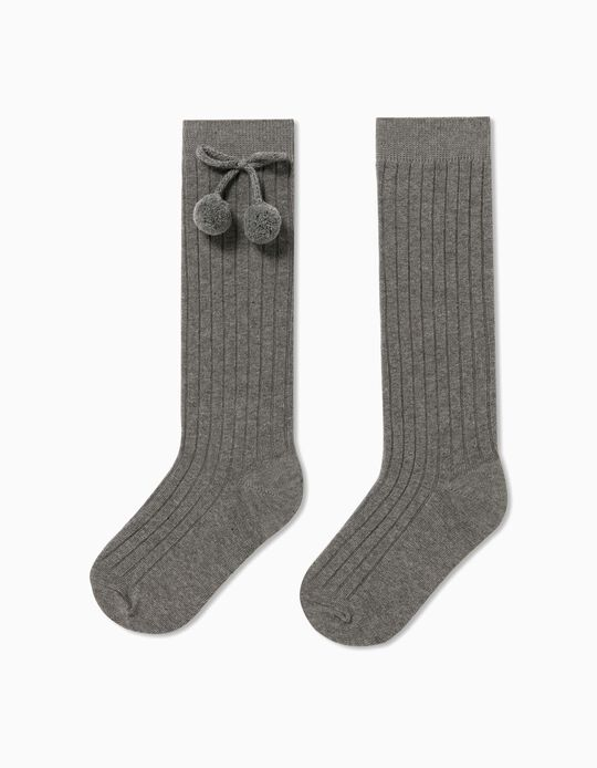 Knee-High Socks with Bow & Pompom
