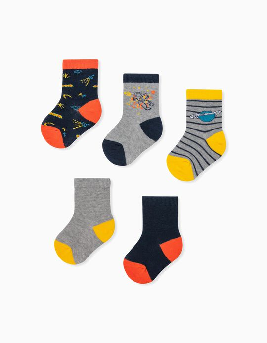 5 Pairs of Socks for Baby Boys, 'Stripes & Planets', Multicoloured