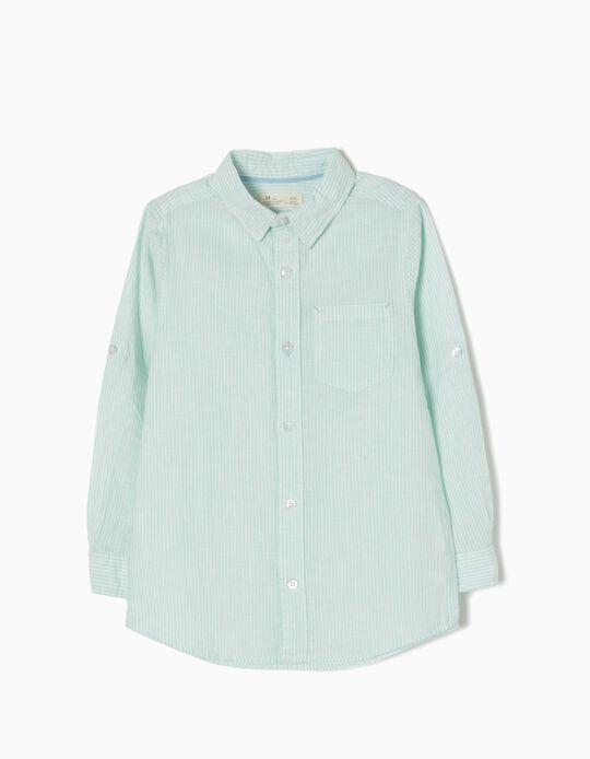 Camisa Linho Riscas Verdes