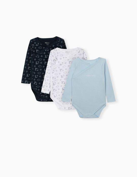 3 Bodysuits for Babies, Blue/ White