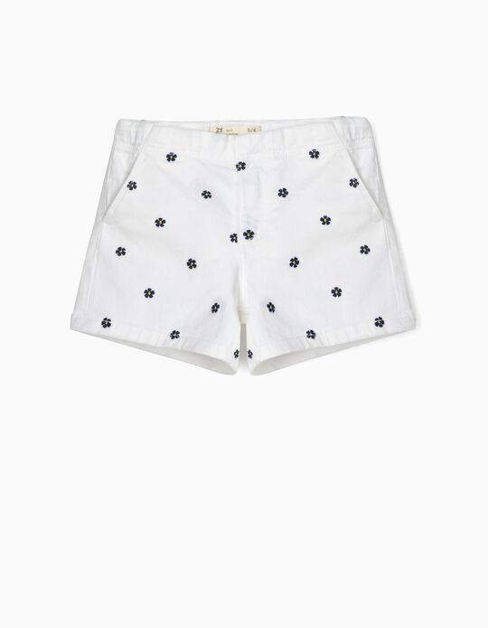 Floral Shorts for Girls, White