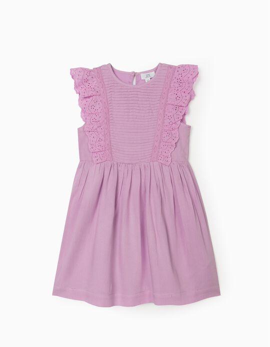 Ruffled Dress for Girls, Lilac