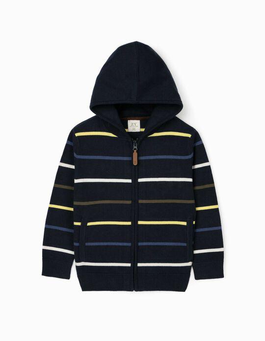 Hooded Cardigan for Boys, Dark Blue