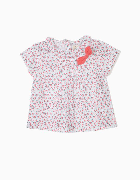 Floral Blouse for Baby Girls, Pink and White
