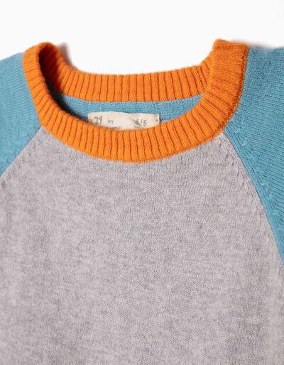 Camisola de Malha Tricolor Azul Escura