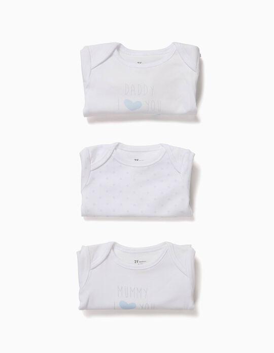 Pack 3 Bodies Estrelas Branco e Azul