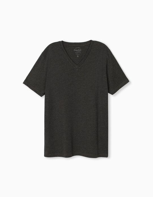 T-shirt Decote em Bico, Homem, Cinza