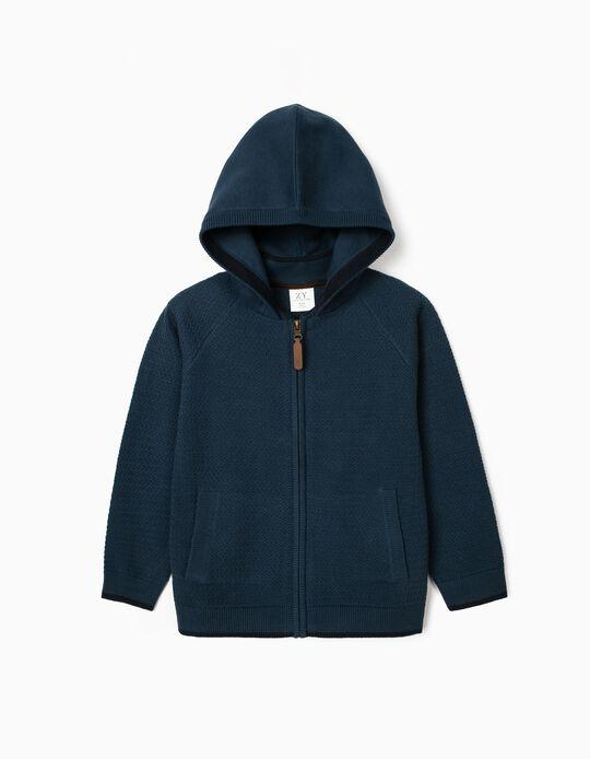 Hooded Cardigan for Boys, Blue
