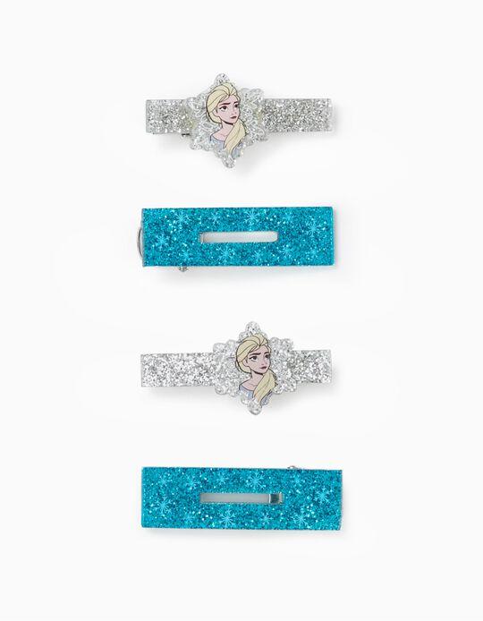 4 Hair Clips for Girls 'Frozen', Blue/Silver