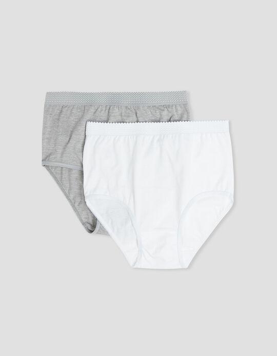 2 Cuecas Cintura Alta, Mulher, Branco/ Cinza