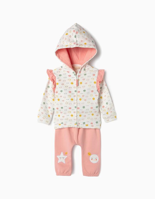 Tracksuit for Newborn Girls 'All Smiles', Pink/White