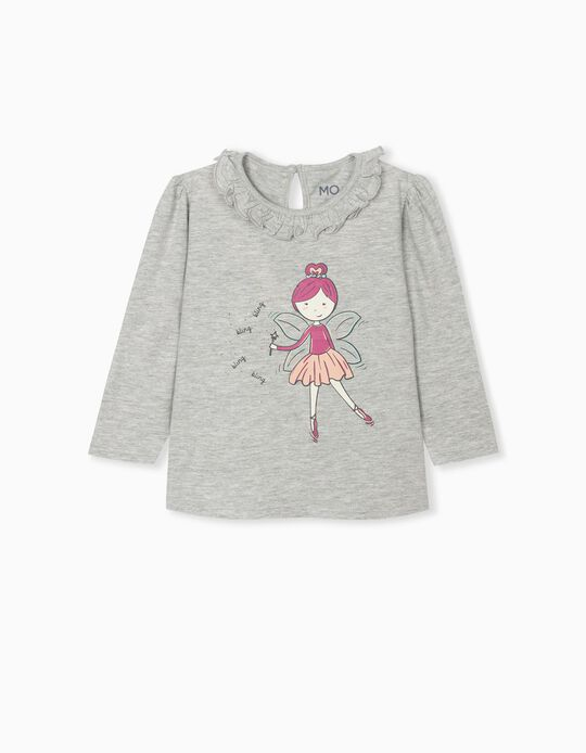 Long Sleeve Top for Baby Girls, Grey
