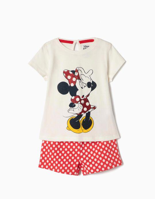 T-shirt e Calções para Bebé Menina 'Minnie', Branco e Vermelho