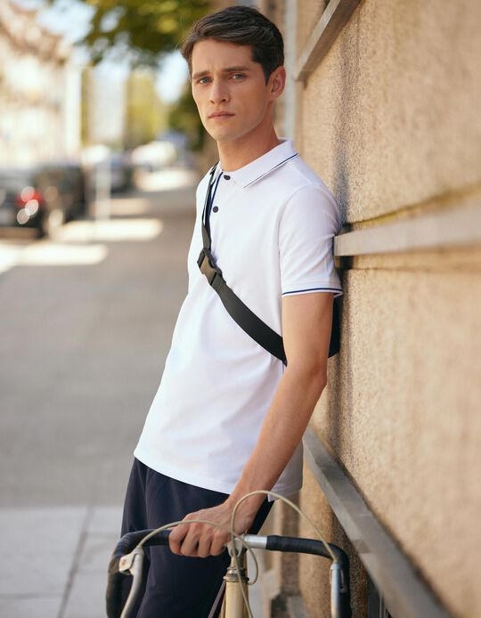 Polo Shirt with Buttons for Men, White
