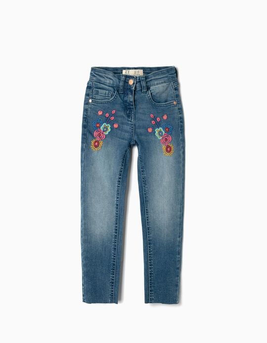 Denim Jeans for Girls 'Flowers', Blue