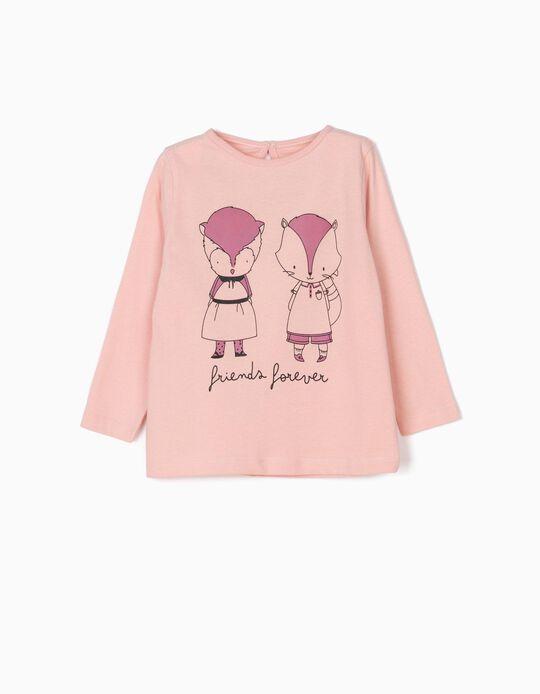 T-shirt Manga Comprida Friends Forever Rosa