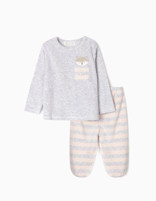 Pijama Veludo para Bebé Menina 'Cute Fox', Cinza/Rosa Claro