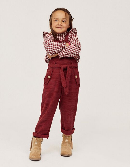 Knit Dungarees for Baby Girls, Burgundy