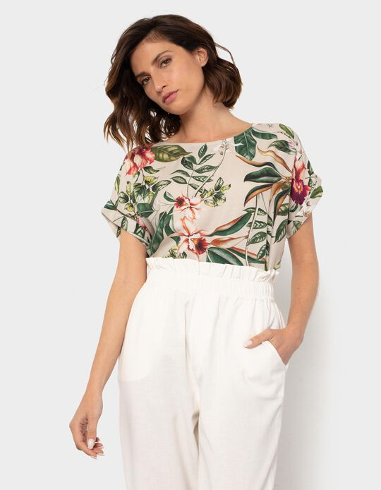 Linen T-shirt, Tropical