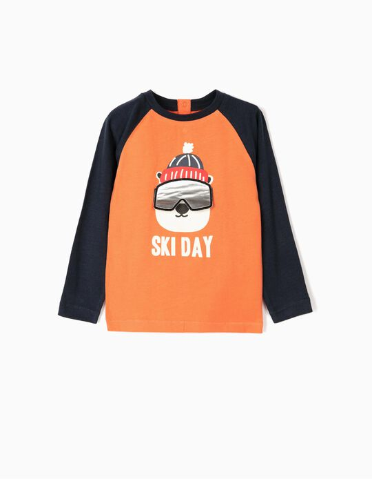 Long-sleeve Top for Baby Boys 'Ski Day', Orange/Blue