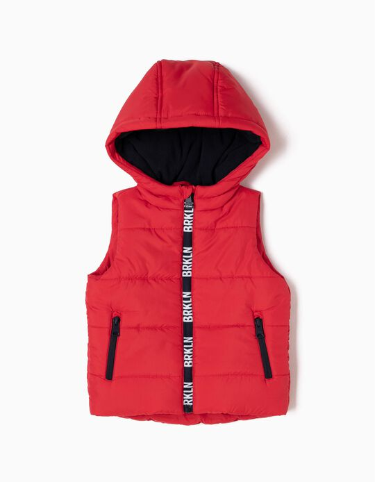 Red Padded Waistcoat with Hood, BKLYN
