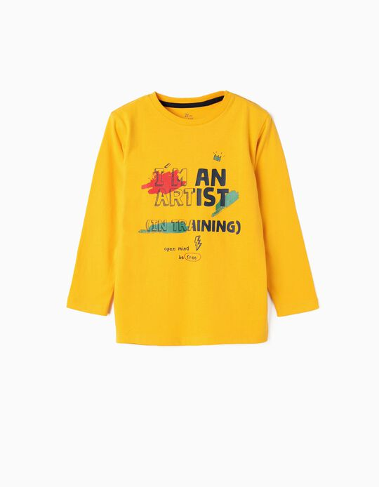 Long-sleeve Top for Boys 'Artist', Yellow