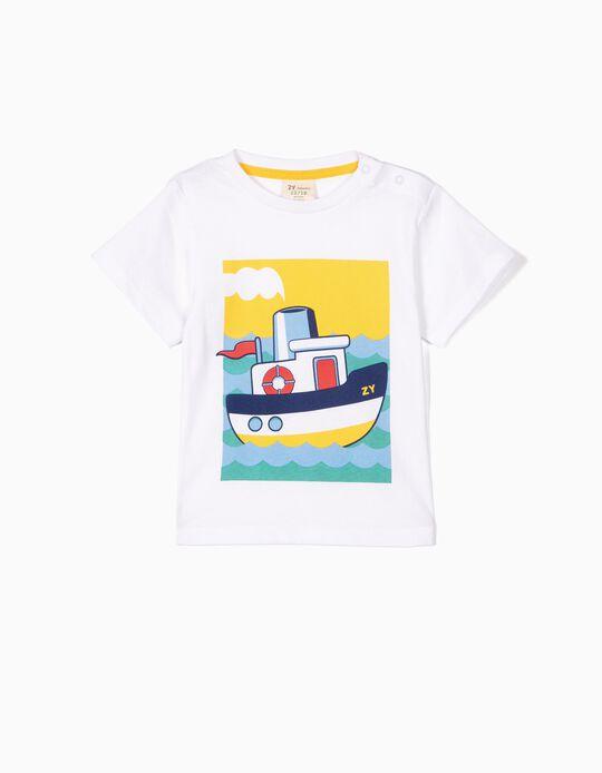 T-shirt para Bebé Menino 'ZY Boat', Branco